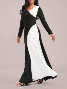 كتلة اللون ماكسي اللباس الرسمي مع كم طويل - أبيض وأسود 2xl