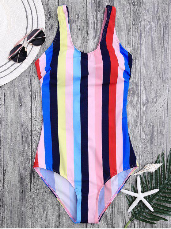 women Lace Up Stripes Swimwear - COLORFUL M