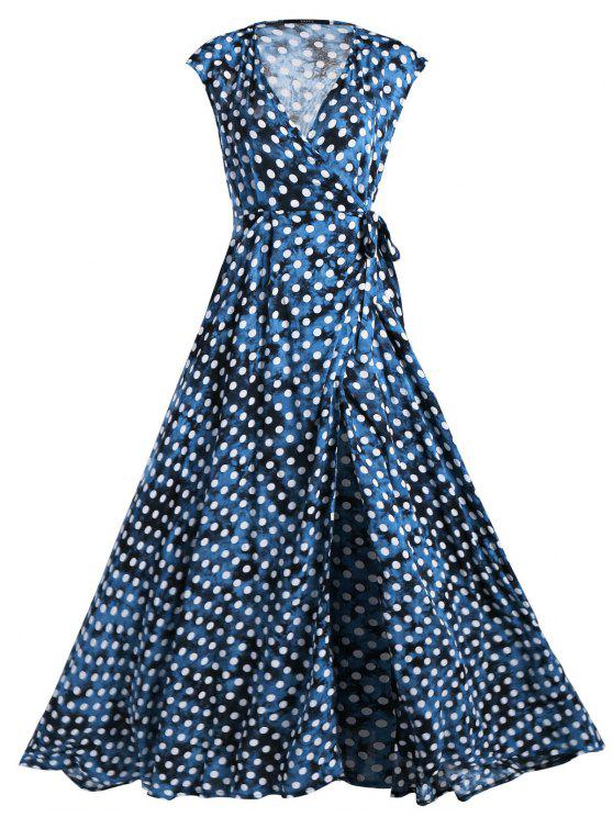 online Wrap Polka Dot Maxi Cover Up Dress - BLUE L