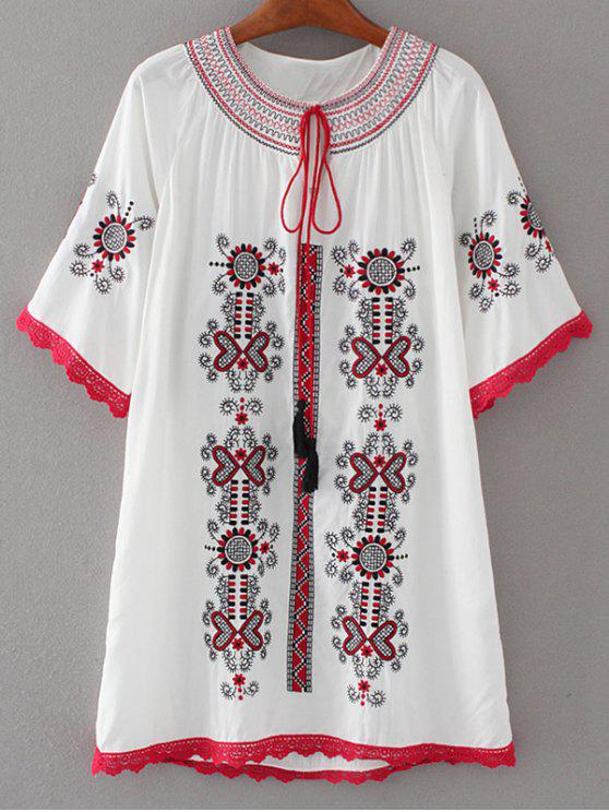fancy Crochet Panel Embroidered Tunic Dress - WHITE S