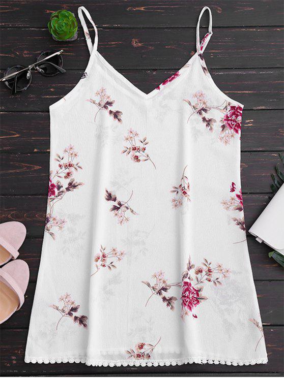 فستان طباعة الأزهار كامي فضفاض - أبيض L