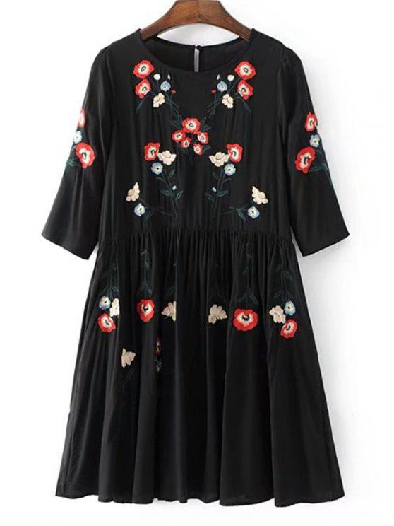 trendy Floral Embroidered Casual Shift Dress - BLACK M