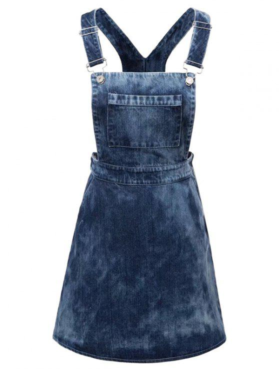sale Tie Dyed Denim Pinafore Dress - DENIM BLUE L
