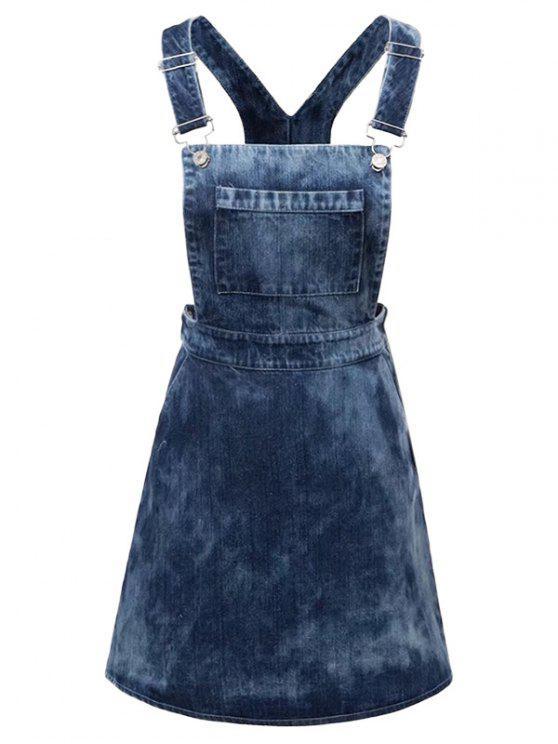 women's Tie Dyed Denim Pinafore Dress - DENIM BLUE M