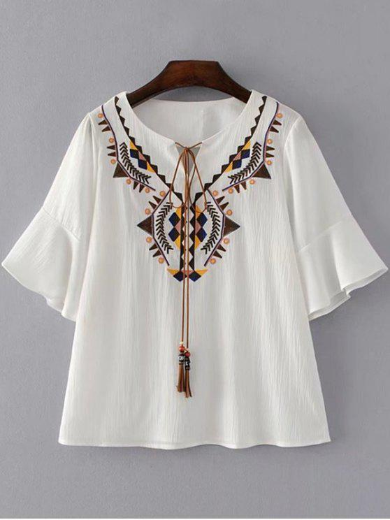 women's Geometric Embroidered Tassels Blouse - WHITE S