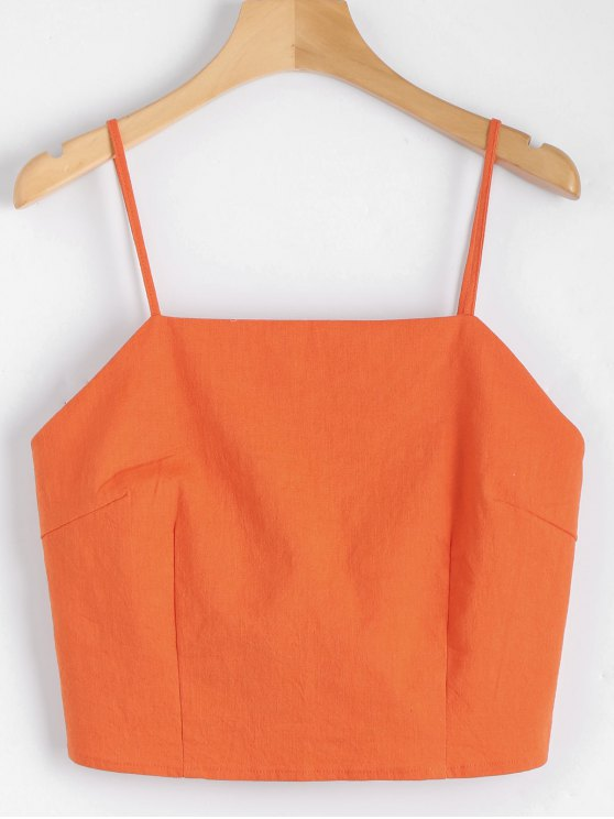 fashion Cut Out Bowknot Cropped Tank Top - ORANGEPINK S