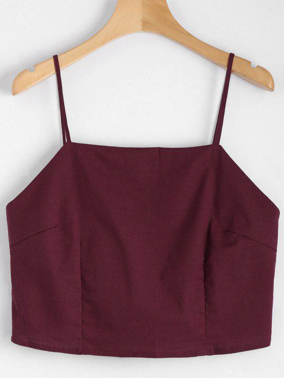 fancy Cut Out Bowknot Cropped Tank Top - WINE RED S