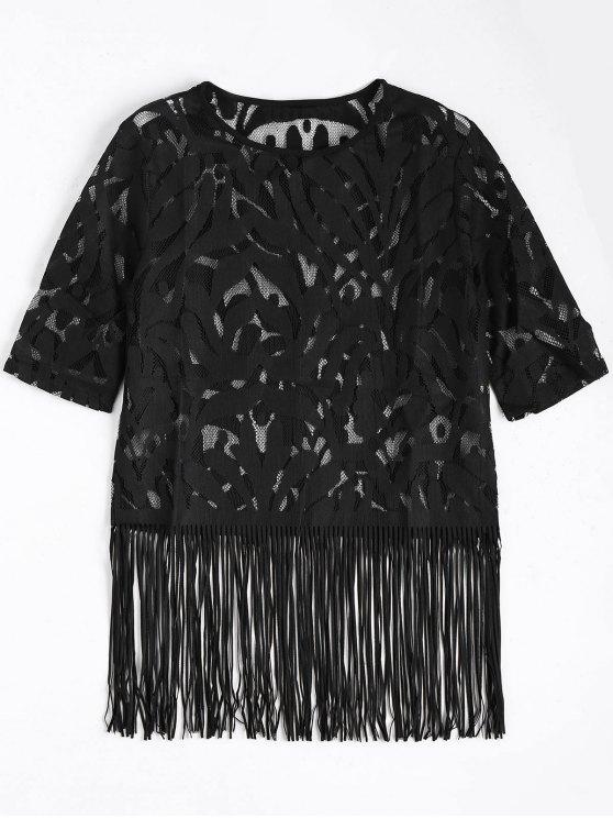 women's Fringe Sheer Lace Top - BLACK S
