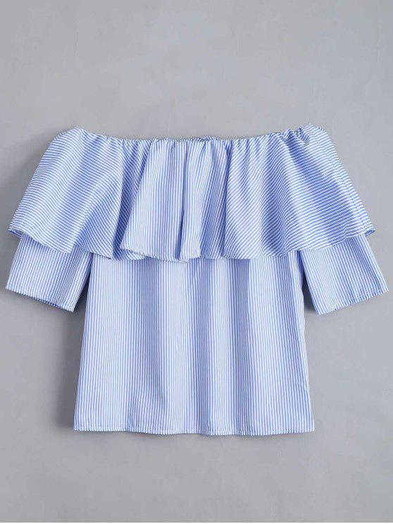 online Flounce Hem Off The Shoulder Striped Blouse - SKY BLUE L