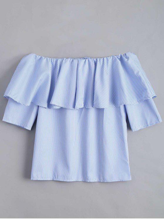 online Flounce Hem Off The Shoulder Striped Blouse - SKY BLUE L
