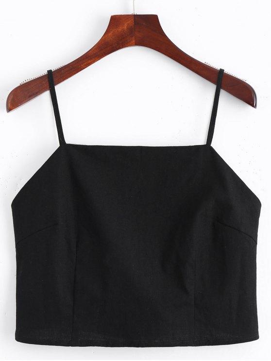 shops Cut Out Bowknot Cropped Tank Top - BLACK M