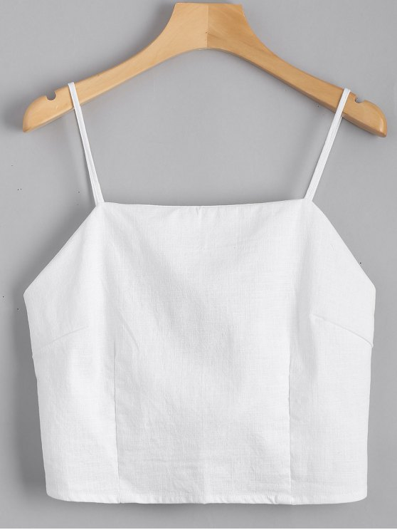fashion Cut Out Bowknot Cropped Tank Top - WHITE S