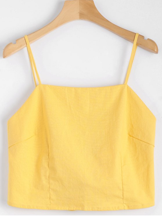 chic Cut Out Bowknot Cropped Tank Top - YELLOW M