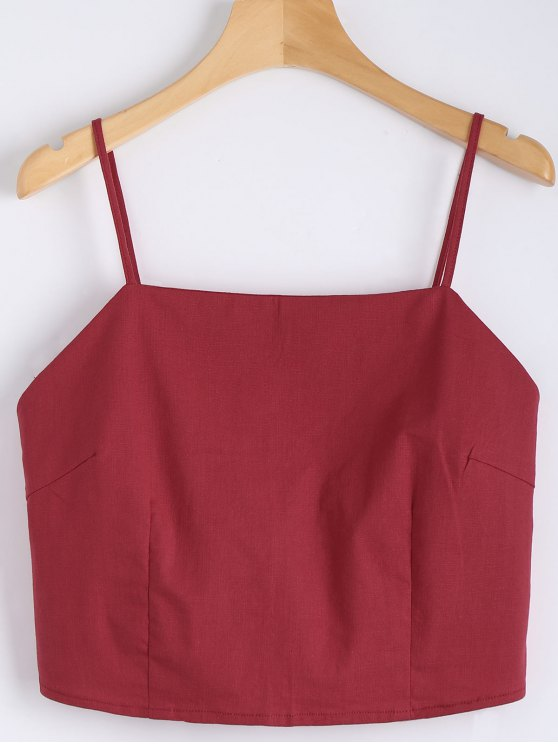 unique Cut Out Bowknot Cropped Tank Top - RED M