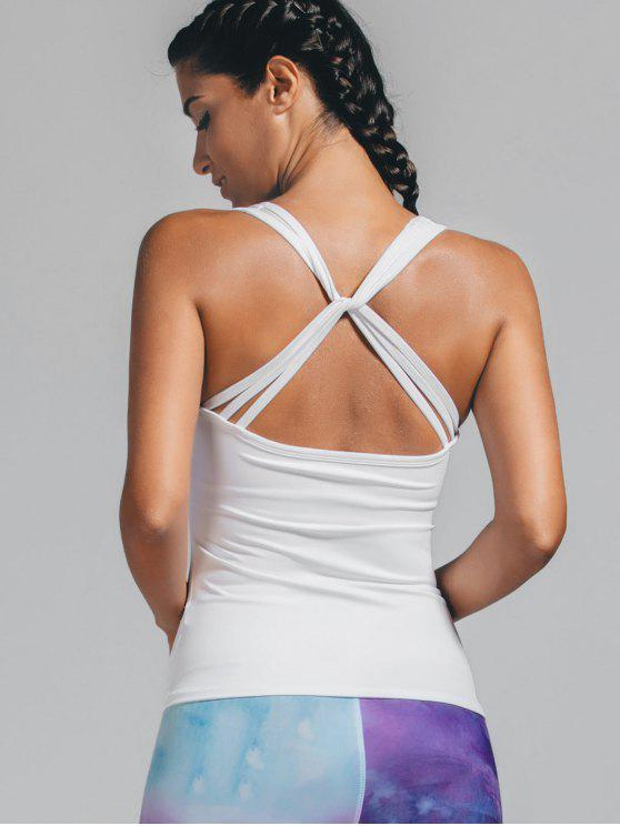 womens Padded Twist Back Sporty Tank Top - WHITE M