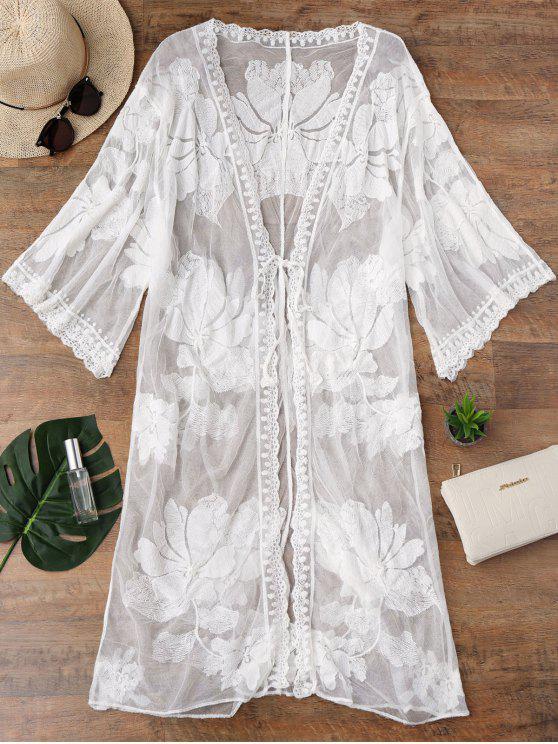 Kimono Mesh Self Tie Longline Cover Up - Branco Tamanho único