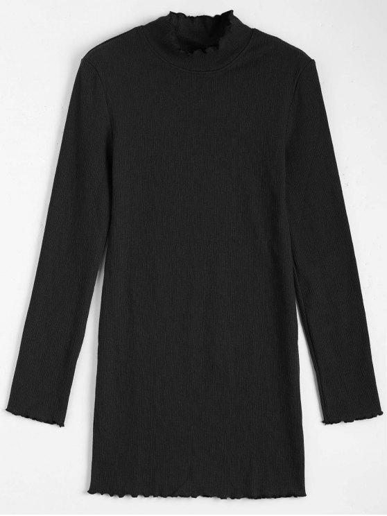فستان محبوك طويلة الأكمام كشكش مصغر - أسود S