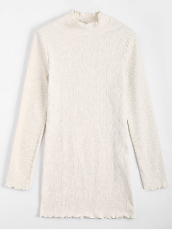 affordable Knitted Long Sleeve Ruffles Mini Dress - OFF-WHITE M