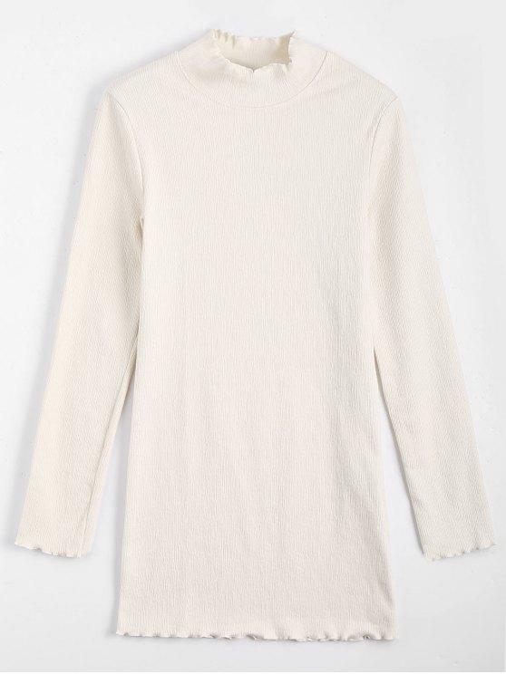 فستان محبوك طويلة الأكمام كشكش مصغر - أبيض فاتح M