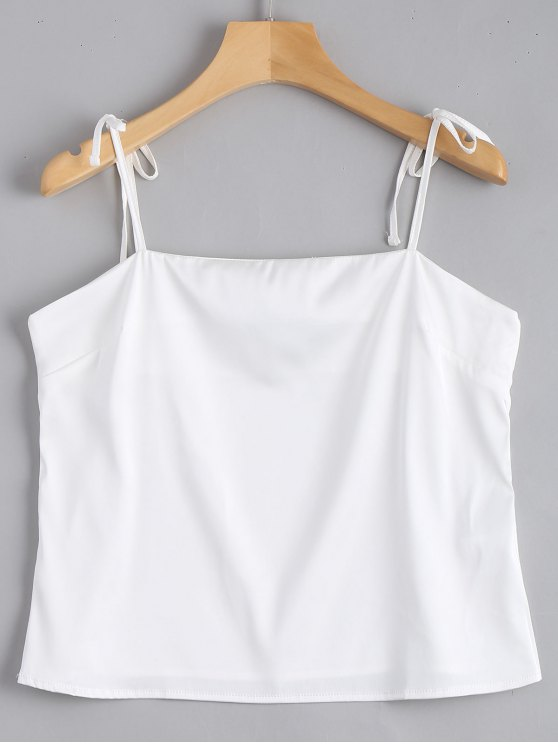 Cami Tied Straps Satin Tank Top - Blanco S