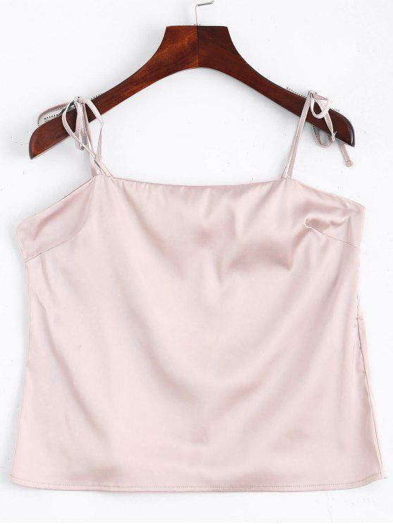 Cami Tied Straps Satin Tank Top - Rosa S