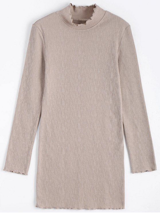 lady Knitted Long Sleeve Ruffles Mini Dress - APRICOT S