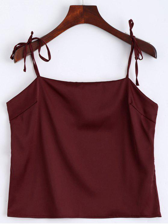 hot Cami Tied Straps Satin Tank Top - WINE RED S