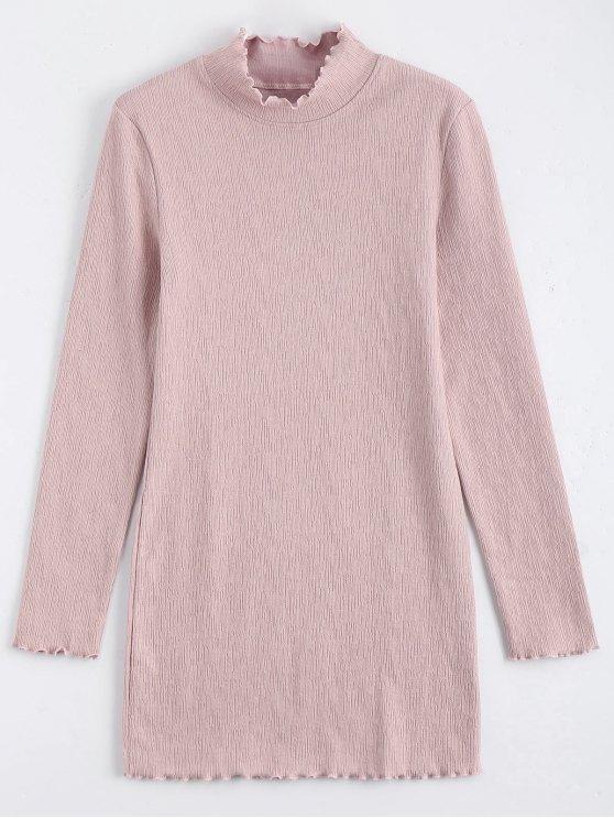 trendy Knitted Long Sleeve Ruffles Mini Dress - PINK S