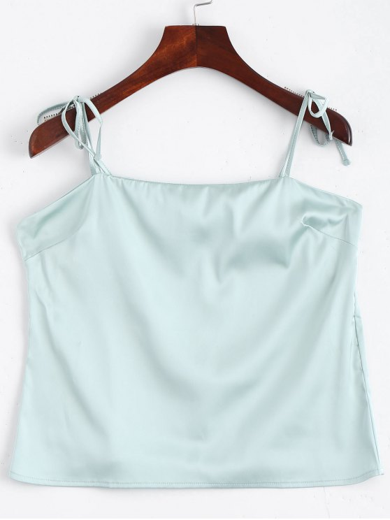 a6305573bdffd 24% OFF  2019 Cami Tied Straps Satin Tank Top In LIGHT BLUE