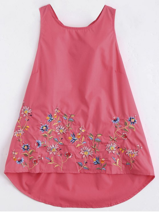 new Ruffles Cut Out Embroidered Top - RED S
