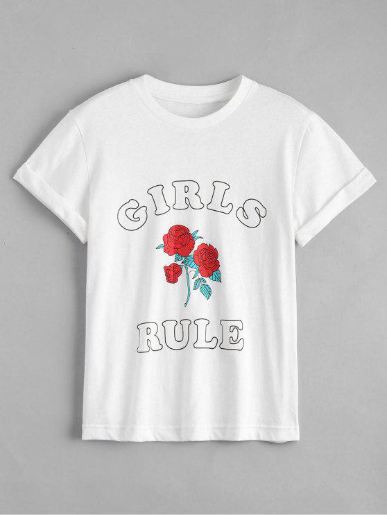 hot Cotton Rose Letter T-Shirt - WHITE L