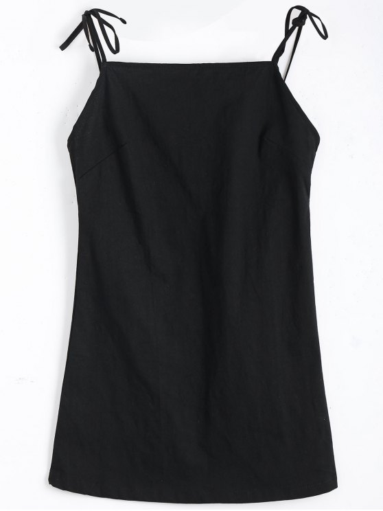 womens Tied Straps Backless Mini Dress - BLACK S