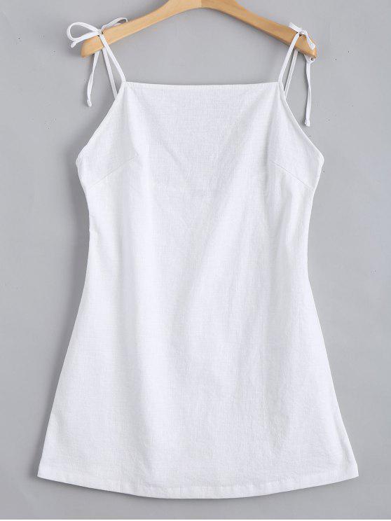 lady Tied Straps Backless Mini Dress - WHITE S