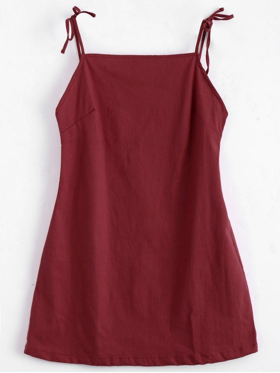 Straight Straps Backless Mini Dress - Vermelho M