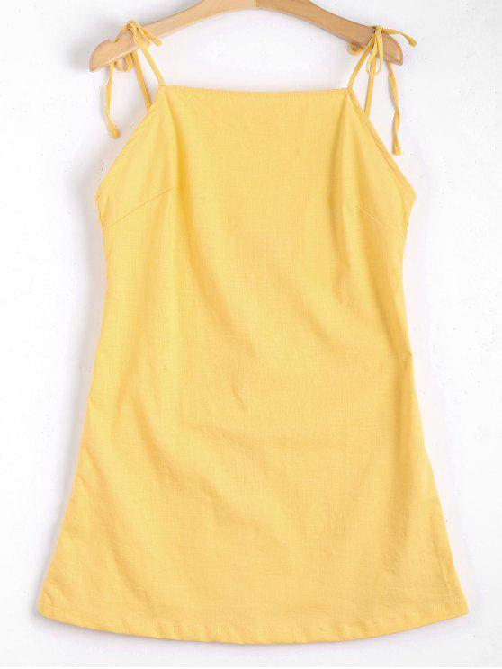 shops Tied Straps Backless Mini Dress - YELLOW S