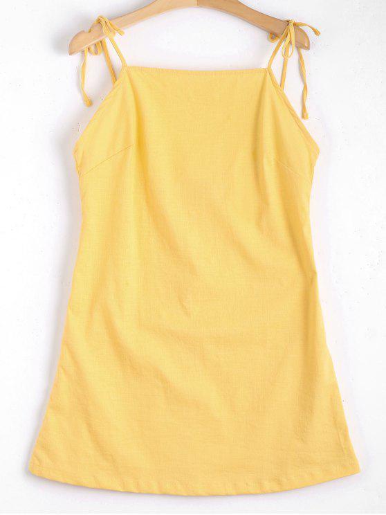 فستان متعادل حزام عارية الظهر مصغر - الأصفر S