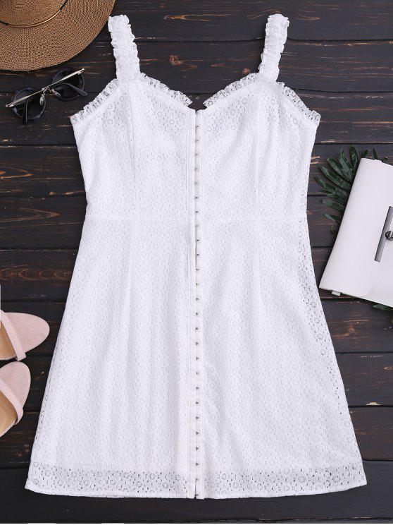 فستان الرقبة على شكل القلب مصغر الدانتيل - أبيض L