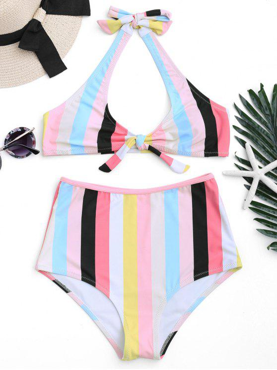 affordable Padded Knotted Striped High Waisted Bikini - STRIPE L