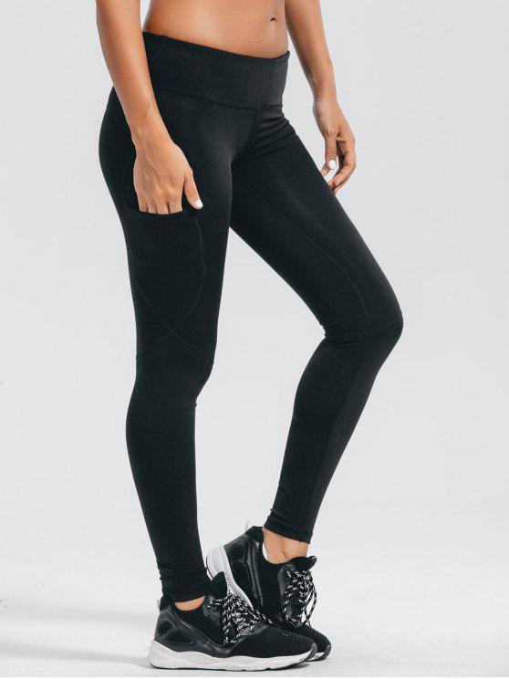 fashion Stretchy Pockets Active Leggings - BLACK M