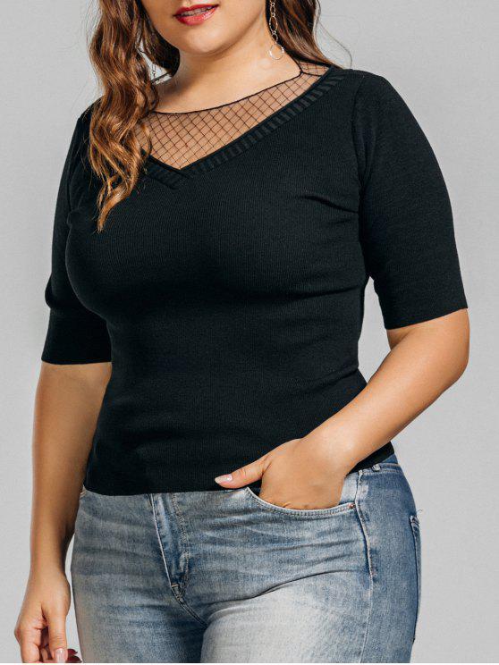 Top tricoté de grande taille avec des empiècements en tulle - Noir 3XL