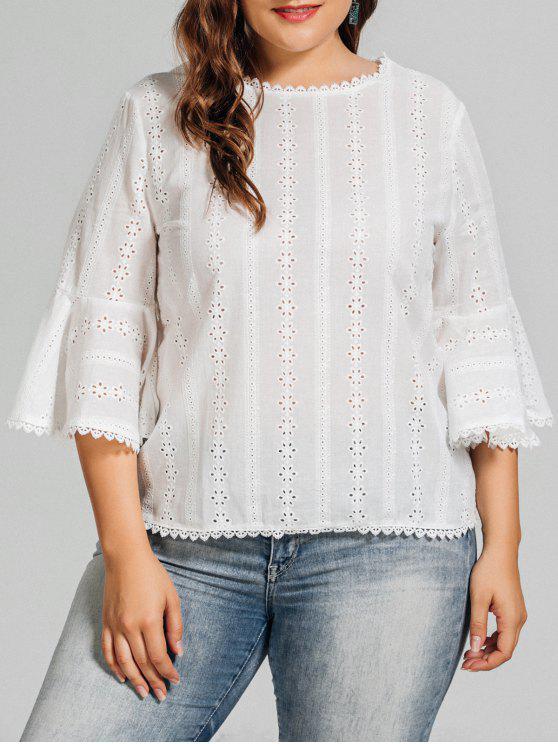 Blusa de tamanho grande Crochet Panel Plus - Branco 3XL