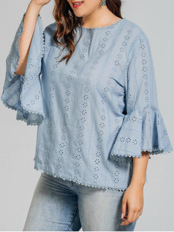 fashion Plus Size Crochet Panel Sheer Blouse - LIGHT BLUE 3XL