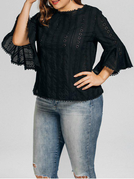 unique Plus Size Crochet Panel Sheer Blouse - BLACK 3XL