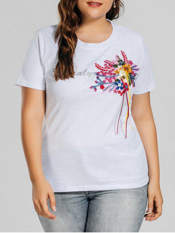 womens Plus Size Letter Embroidered Patched T-Shirt - WHITE 2XL