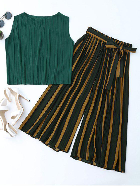 latest Pleated Top with Color Block Striped Gaucho Pants - BLACKISH GREEN ONE SIZE