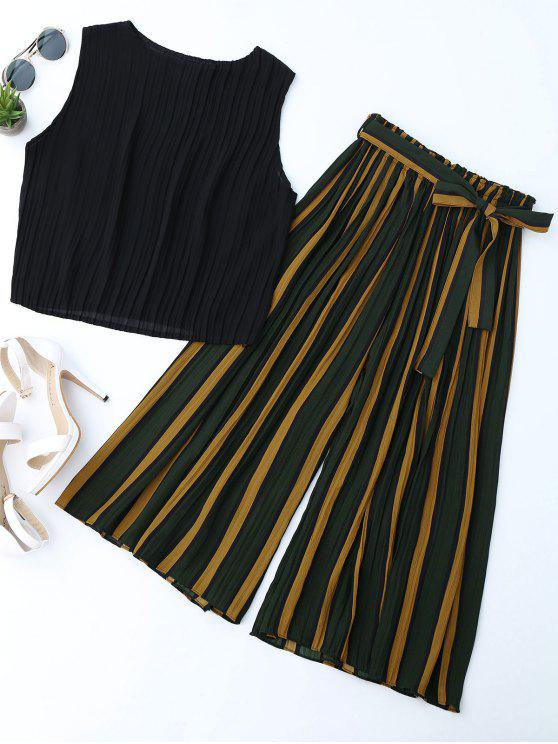 trendy Pleated Top with Color Block Striped Gaucho Pants - BLACK ONE SIZE