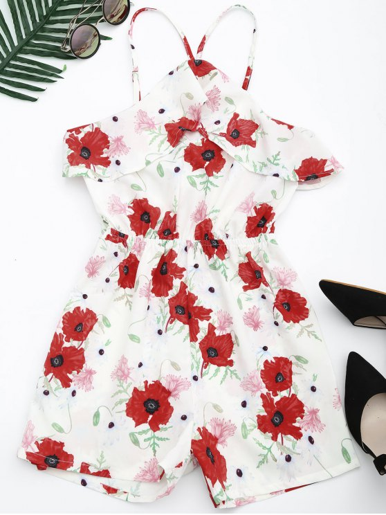 trendy Beach Floral Ruffles Romper - FLORAL S
