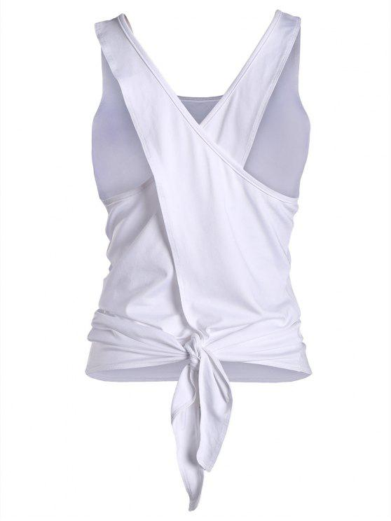 best Cross Back Scoop Tied Sporty Top - WHITE L