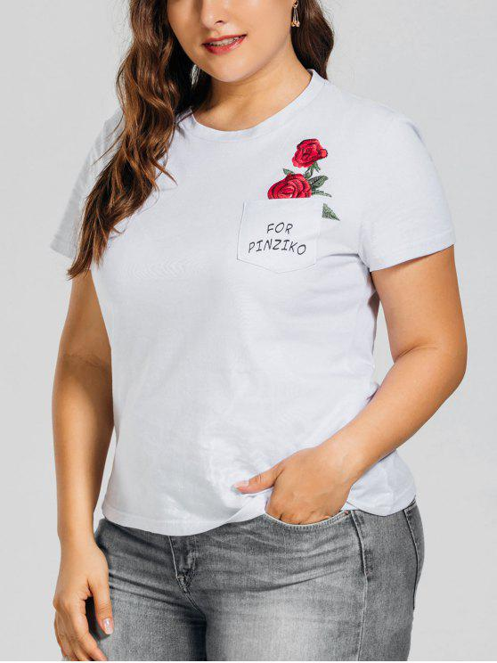 T-shirt brodé rose taille grand avec poche - Blanc XL