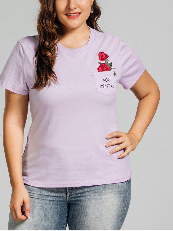 T-shirt brodé rose taille grand avec poche - Violet Clair 3XL